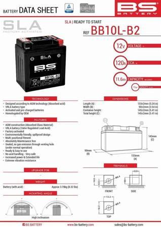 Akumulator AGM BS YB10L-B2 (BB10L-B2) (FA) 12V 11AH 136X91X146 BEZOBSŁUGOWY - ZALANY (160A), np. Piaggio X-EVO 125, Suzuki GS 500
