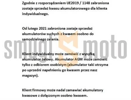 Akumulator BS BTX4L (YTX4L-BS, YT4L-BS) 12V 3AH 114x71x86mm, bezobsługowy, zalany (50A)