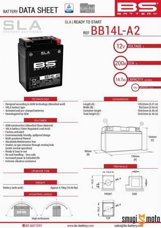 Akumulator BS YB14L-A2/F AGM (bezobsługowy, zalany), 135x91x167mm, np. Piaggio X9 500