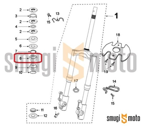 Bieżnia łożyska główki ramy, górna, Peugeot Speedfight III