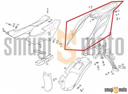 Błotnik tylny, czarny, Aprilia RX / SX 125 '18- / Derbi Senda 125 R-SM DRD Racing