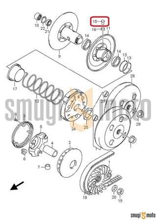 Bolec prowadzący korektora momentu obrotowego, Suzuki UH 125 Burgman '05-18 / UX 125-150 Sixteen '08-11 / TR 50 '98-00 / LT-Z 90 '07-18 (1 szt.)