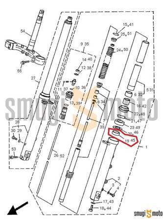 Panewka przedniego zawieszenia, dolna (na rurze) Yamaha TDM 850 '91-95, XP 500 T-Max '05-07