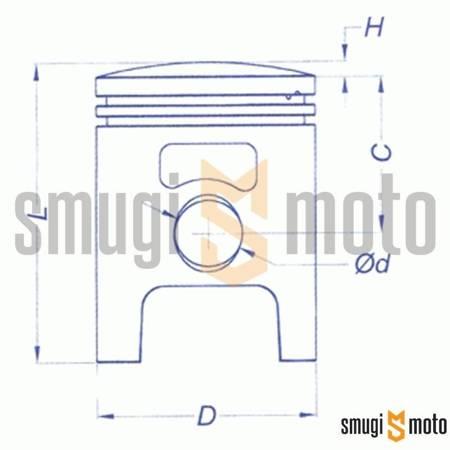 Tłok kompletny Vertex, Polini Sport 70cc / Stage6 Streetrace 70cc, Minarelli 10mm (jeden pierścień) (różne rozmiary)